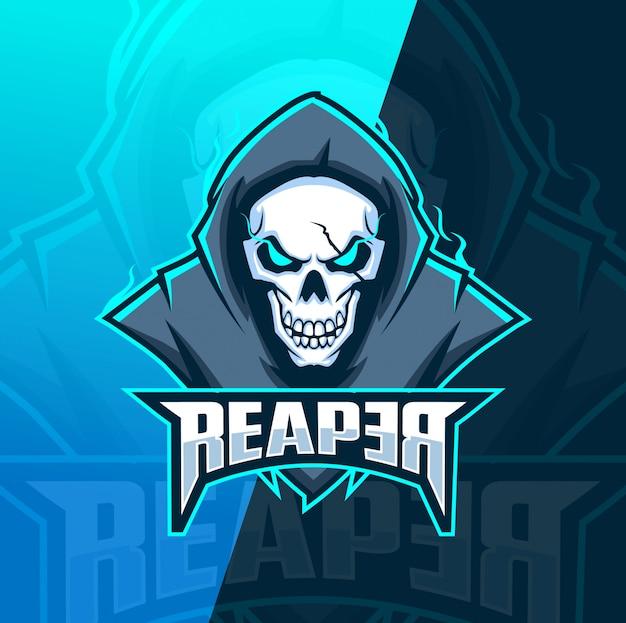 死神頭蓋骨マスコットeスポーツのロゴのテンプレート Premiumベクター
