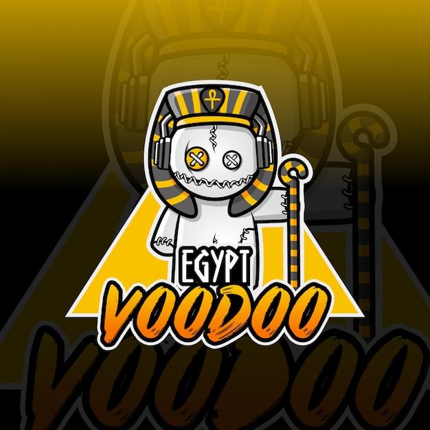 エジプトのブードゥー教のマスコットeスポーツのロゴデザイン Premiumベクター