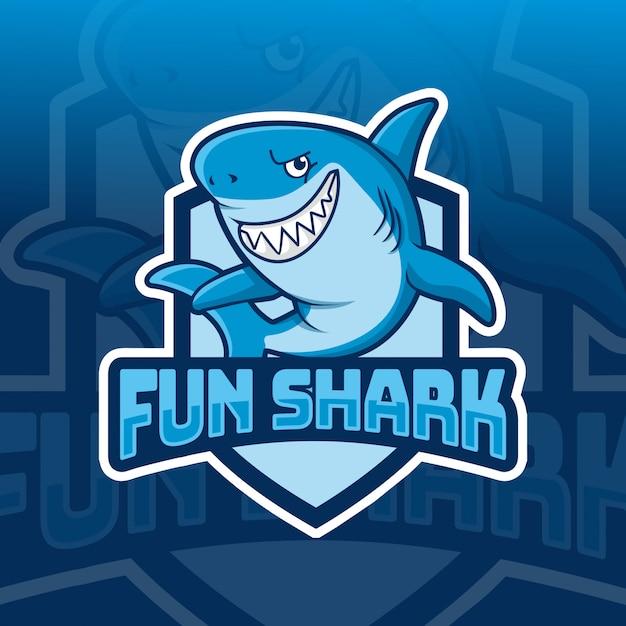 楽しいサメマスコットeスポーツロゴデザイン Premiumベクター
