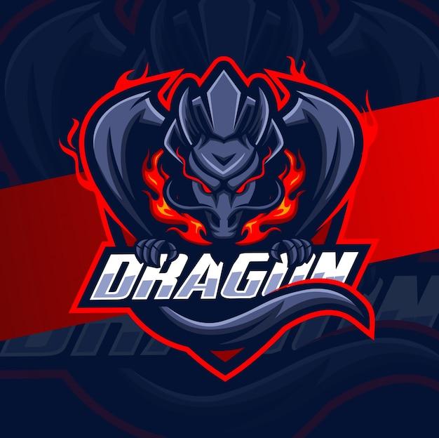 ドラゴンマスコットeスポーツロゴデザイン Premiumベクター