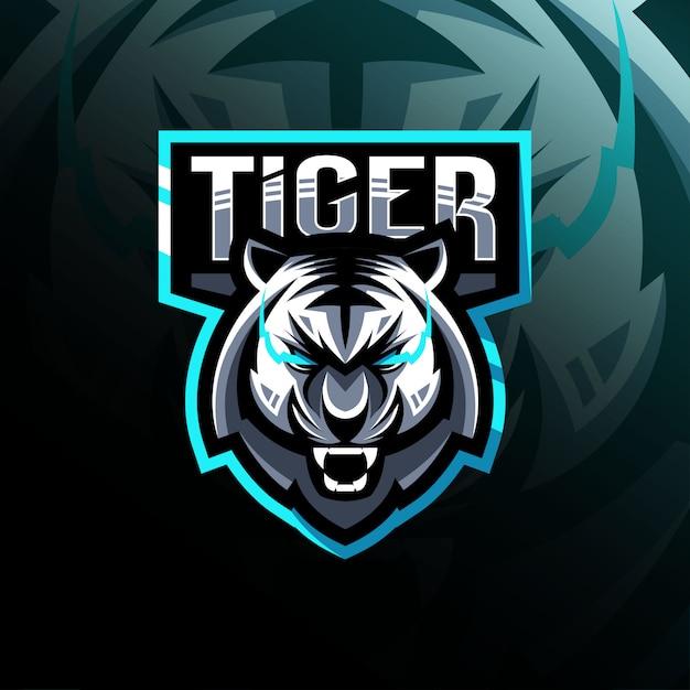 タイガーマスコットロゴeスポーツ Premiumベクター