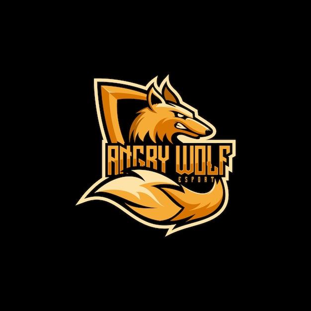 素晴らしいオオカミeスポーツのロゴ Premiumベクター