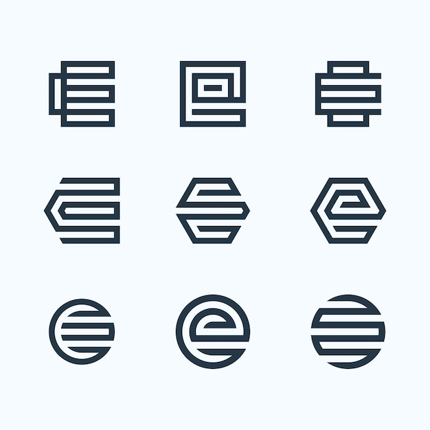 文字eロゴバンドル Premiumベクター