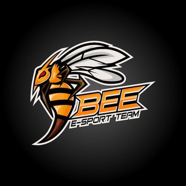 怒っている蜂eスポーツマスコットロゴデザイン Premiumベクター