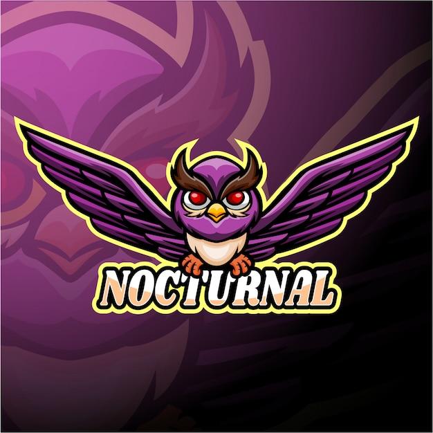夜行性のeスポーツのロゴのマスコットデザイン Premiumベクター