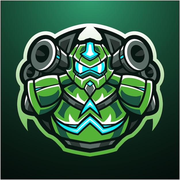 ロボットeスポーツマスコットロゴ Premiumベクター