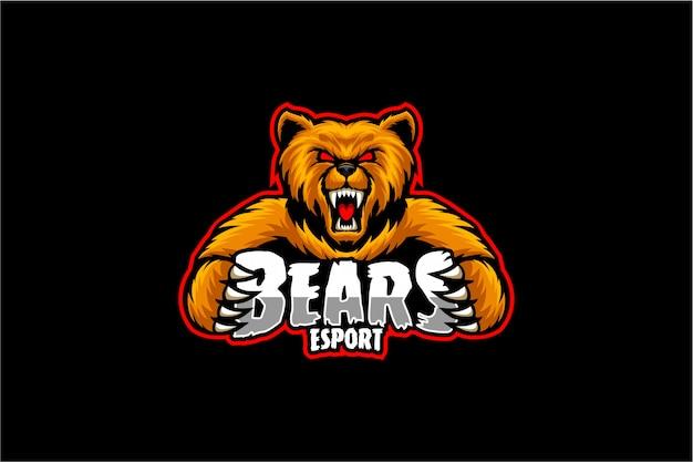 怒っているクマのロゴeスポーツ Premiumベクター