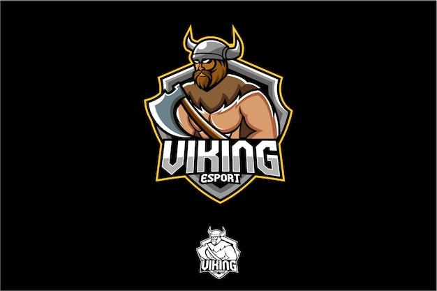 古代バイキングのeスポーツのロゴ Premiumベクター