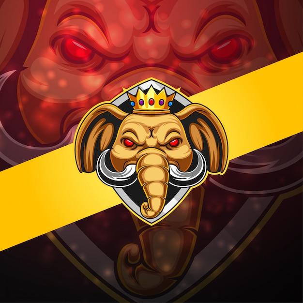 象のeスポーツマスコットロゴ Premiumベクター