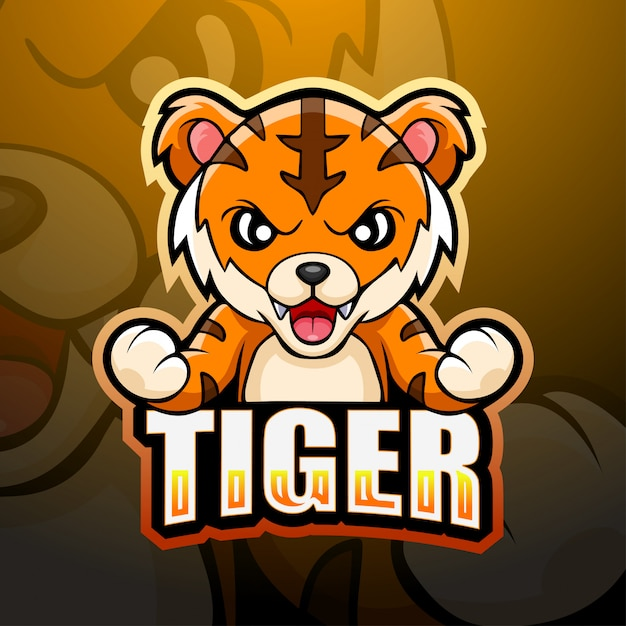 タイガーマスコットeスポーツイラスト Premiumベクター