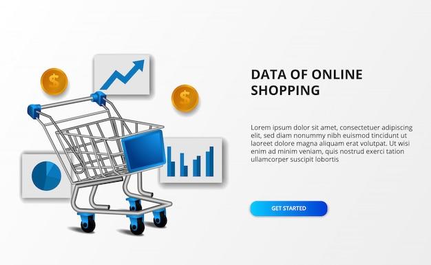 オンラインショッピングのeコマースのデータ。データグラフと黄金のお金でショッピングトロリーのイラスト。 Premiumベクター