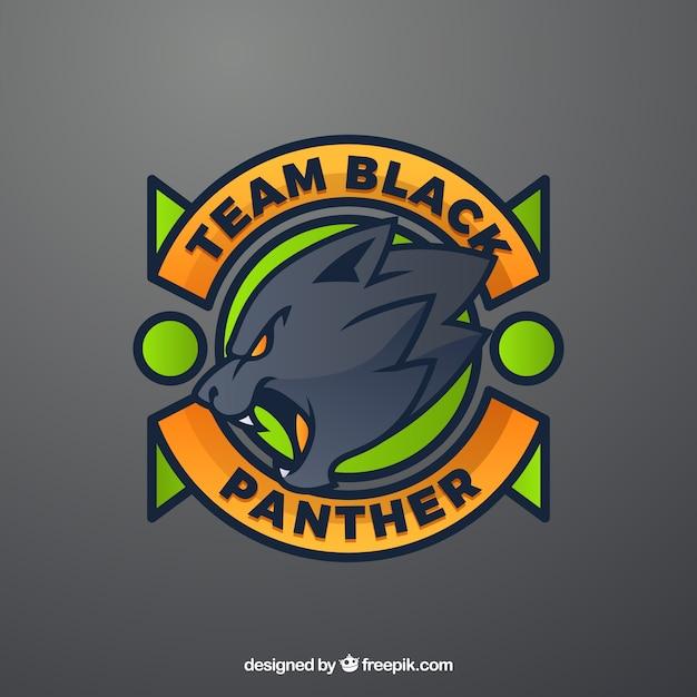 黒いパンサーとeスポーツチームのロゴテンプレート 無料ベクター