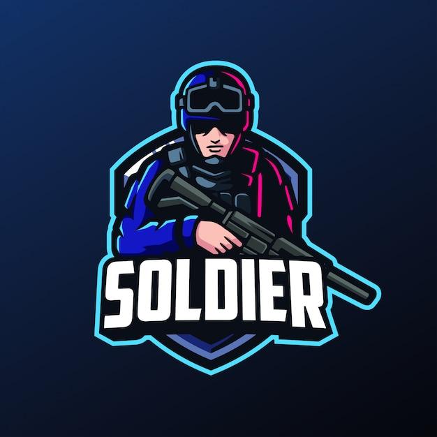スポーツとeスポーツのロゴの兵士マスコット Premiumベクター