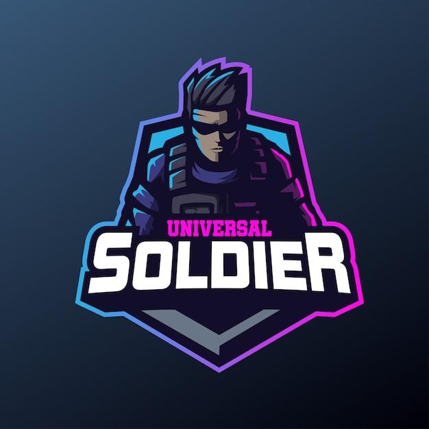 スポーツとeスポーツのロゴの普遍的な兵士のマスコット Premiumベクター