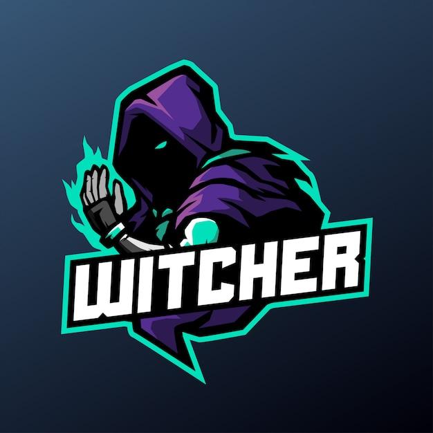 暗い背景に分離されたスポーツとeスポーツのロゴのウィッチャーマスコットイラスト Premiumベクター