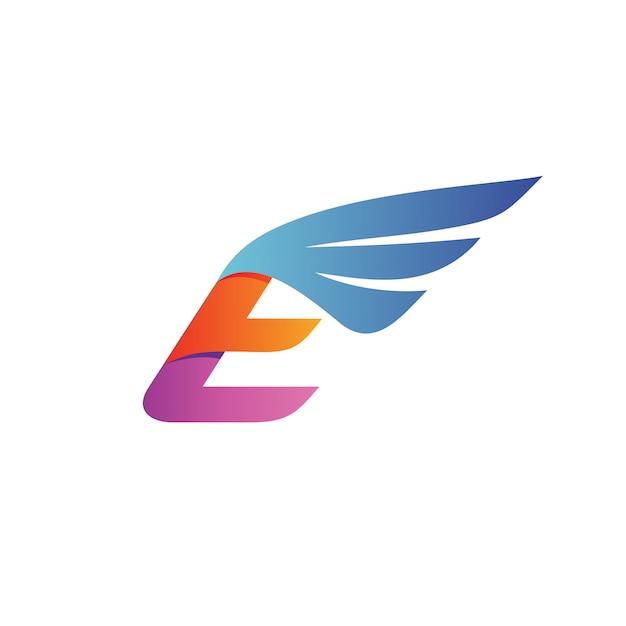 手紙e翼のロゴのベクトル Premiumベクター