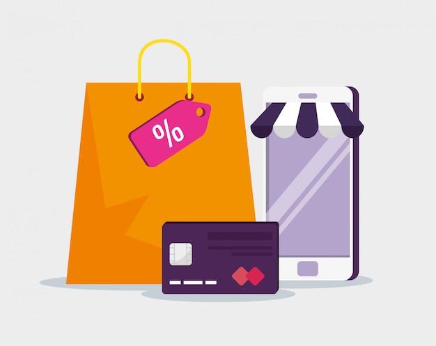 クレジットカードとバッグを使用したスマートフォンeコマース 無料ベクター