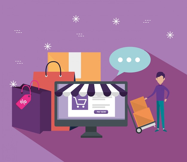 コンピューターとeコマースセールでオンラインショッピング 無料ベクター