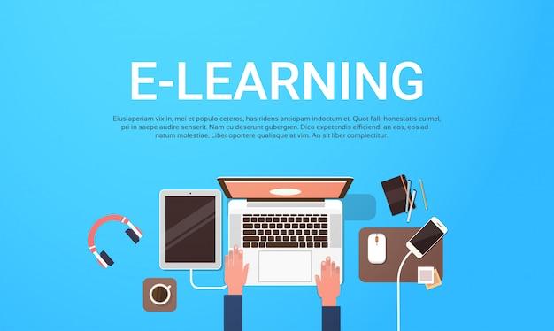 学生のラップトップコンピューター職場でeラーニング教育オンラインバナーテキストテンプレートでトップビューの背景 Premiumベクター