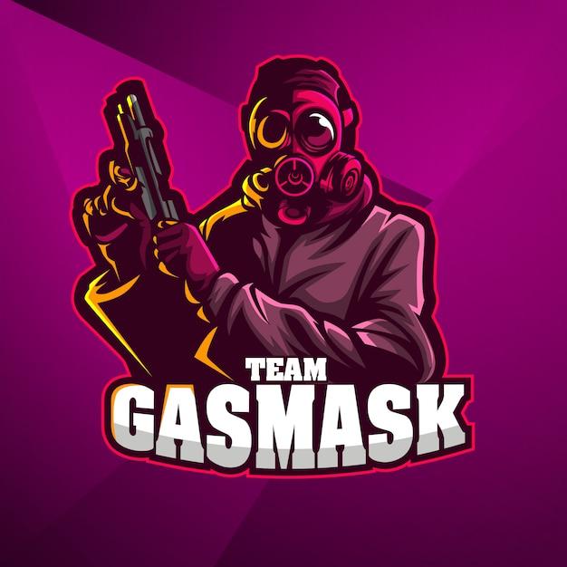 スポーツマスコットロゴデザインベクトルテンプレートeスポーツ兵士銃手ガスマスクガンマン Premiumベクター
