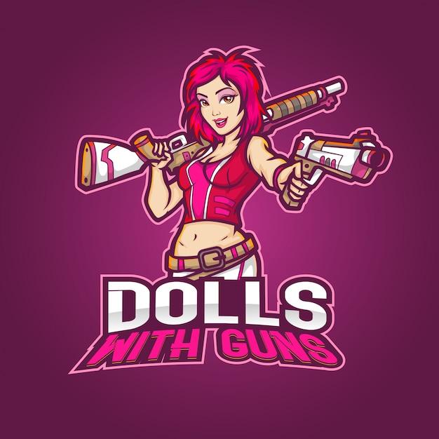 編集可能でカスタマイズ可能なスポーツマスコットのロゴデザイン、銃を備えたeスポーツのロゴ人形 Premiumベクター