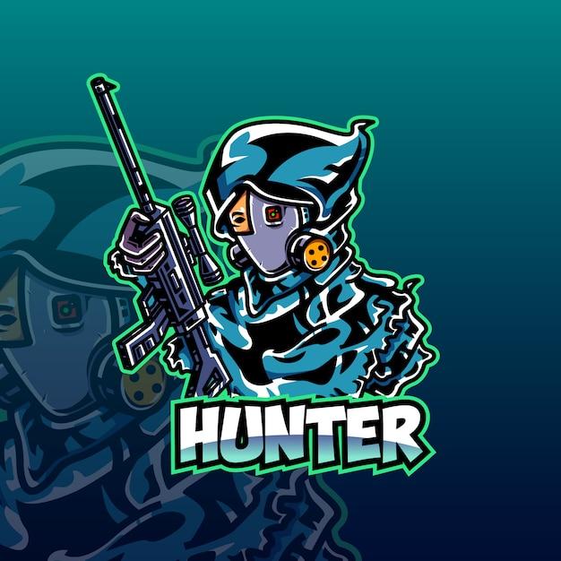 ハンターeスポーツのロゴのテンプレート Premiumベクター