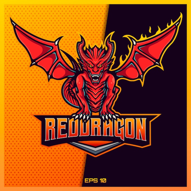 チームバッジ、エンブレム、喉の渇きの印刷のためのモダンなイラストコンセプトで赤い西洋eスポーツとスポーツマスコットのロゴデザイン。赤い金の背景に赤い西洋ドラゴンイラスト。図 Premiumベクター