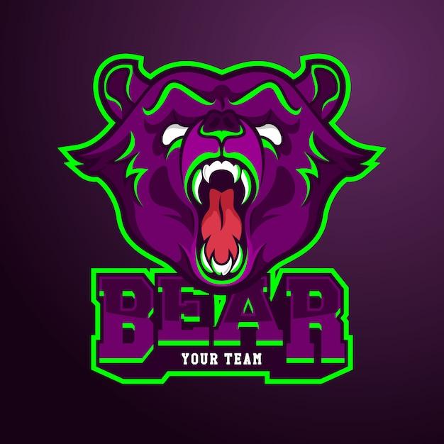クマとeスポーツチームのロゴのテンプレート Premiumベクター