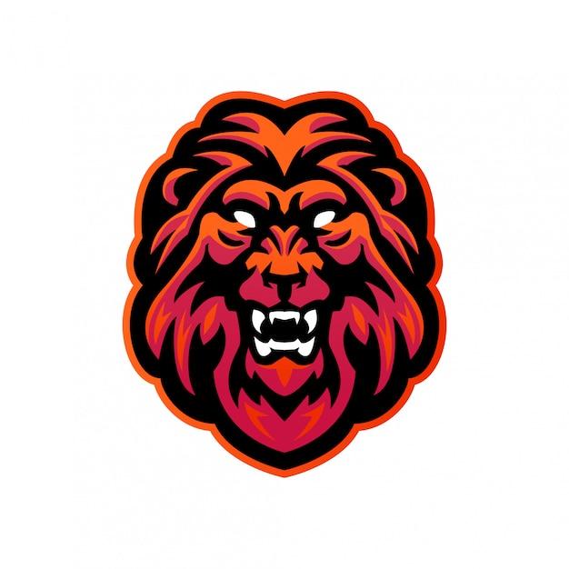 さまざまな活動のためのライオンヘッドeスポーツマスコットロゴテンプレート Premiumベクター