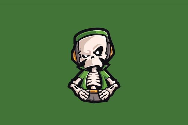 緑の頭蓋骨eスポーツマスコット Premiumベクター