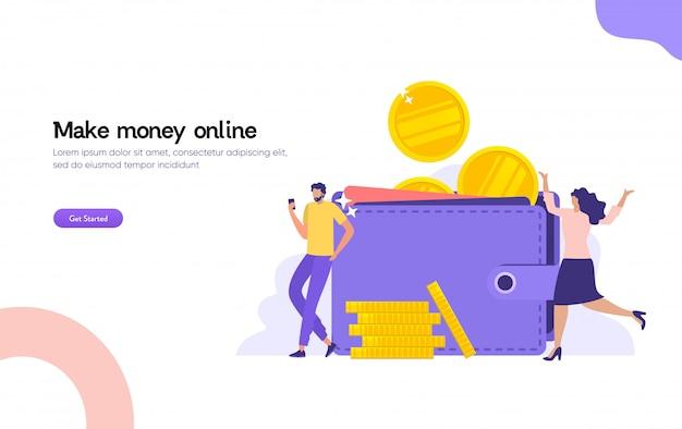 男性と女性の大きな財布とコイン、オンライン決済、e転送デジタル財布イラストコンセプトのスタック Premiumベクター