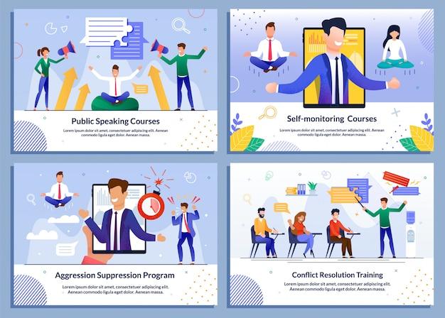 ビジネスマン向けeラーニングオンライン教育テンプレートセット Premiumベクター