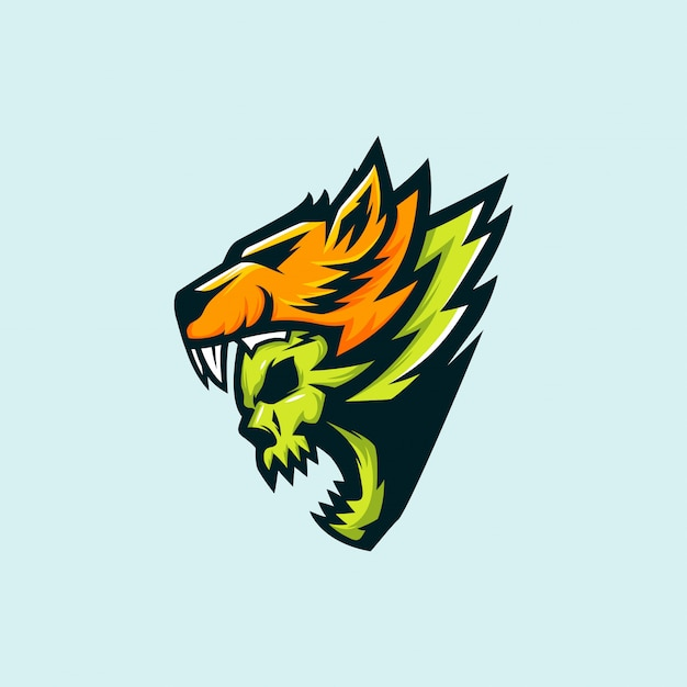 Eスポーツのオオカミと頭蓋骨のロゴ Premiumベクター