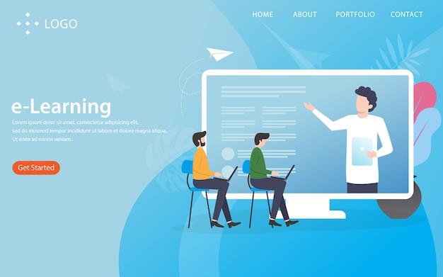 イラスト付きeラーニングコンセプトのランディングページ Premiumベクター