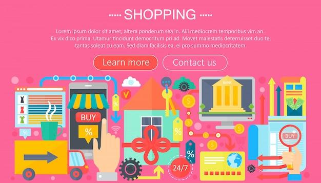 オンラインショッピングやeコマースショッピングのためのインフォグラフィックテンプレート Premiumベクター