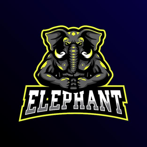 象のマスコットロゴeスポーツゲームイラスト Premiumベクター
