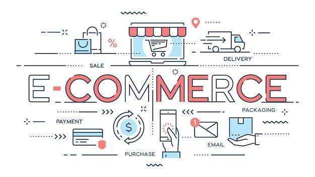 Eコマース、オンラインショッピング、小売、販売、配送サービス Premiumベクター