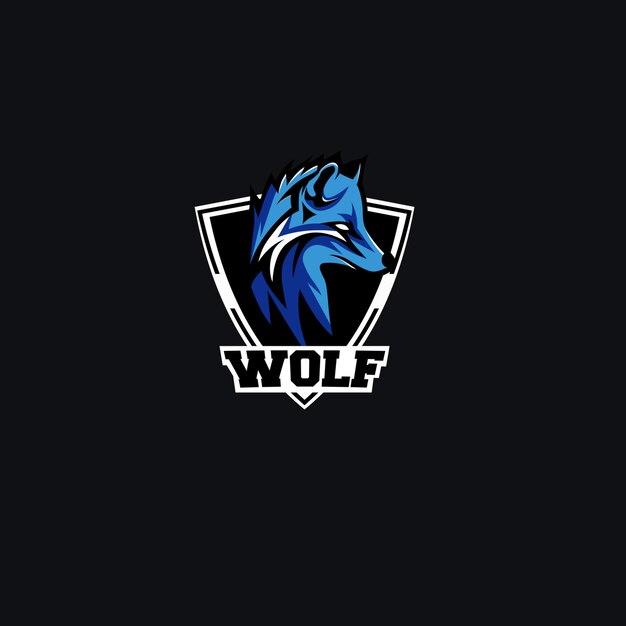 Eスポーツオオカミのロゴのデザインテンプレート Premiumベクター