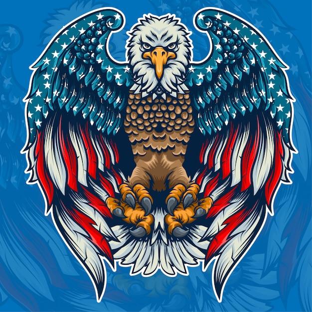 Eagle american flag inside Premium Vector