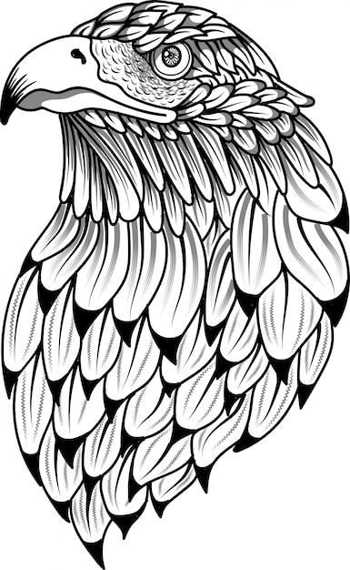 Eagle bird head zentangle stylized doodle Premium Vector