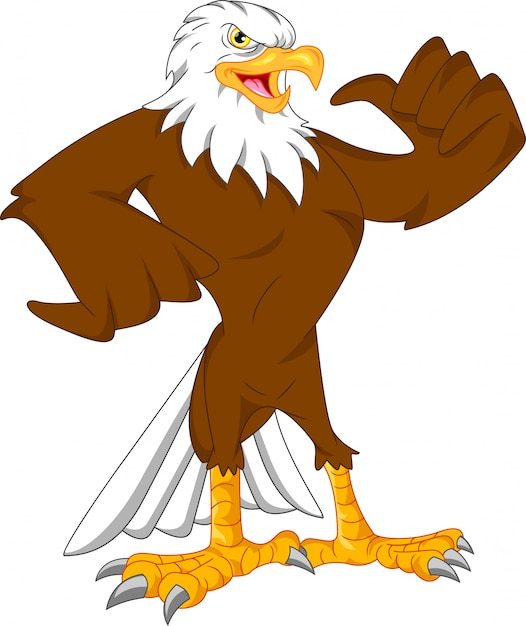 Eagle cartoon thumbs up Premium Vector