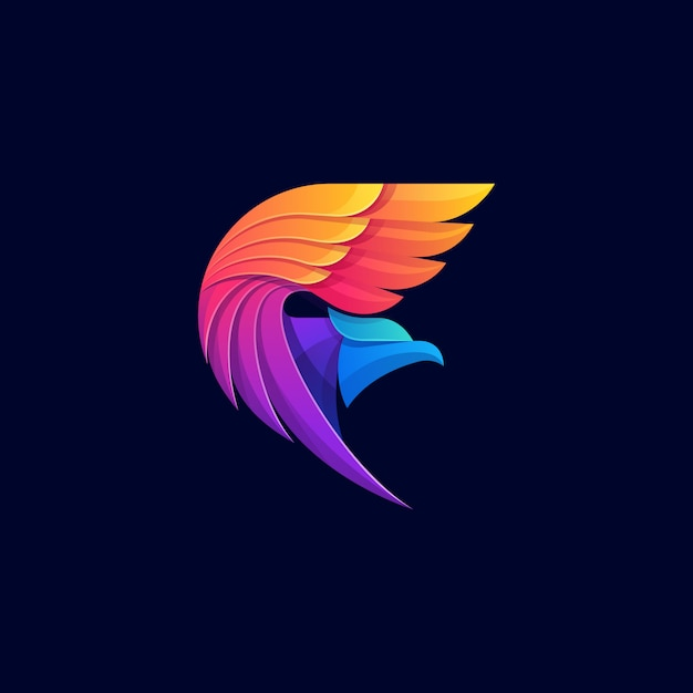 Eagle colorful geometric logo Premium Vector