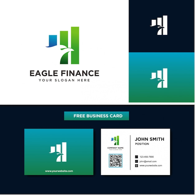Eagle financialのロゴデザイン Premiumベクター