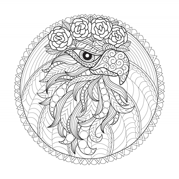 Eagle and flower coloring page for adults Premium Vector