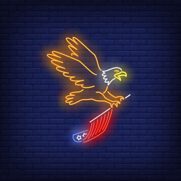 Eagle flying and carrying usa flag neon sign. usa symbol, history. Free Vector