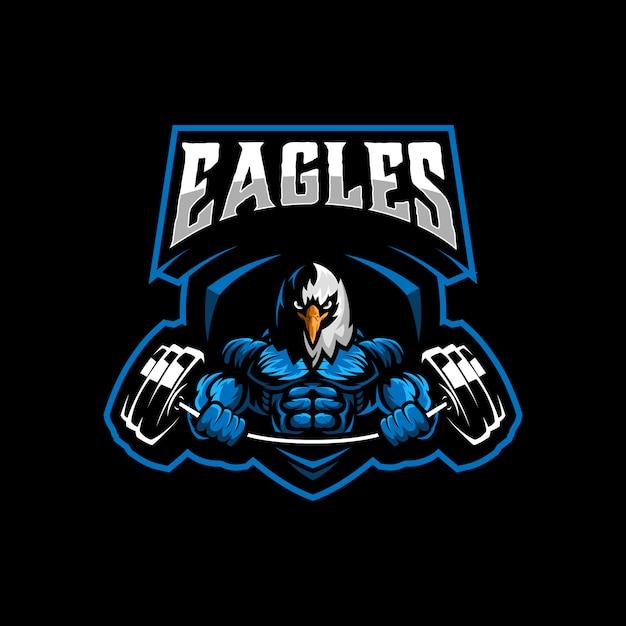 Eagle gym logo template vector Premium Vector