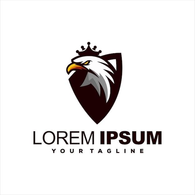 Eagle Head Crown Logo Design Premium Vector