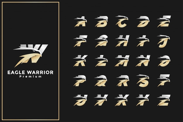 Eagle head initial letter logo premium gold silver alphabet Premium Vector
