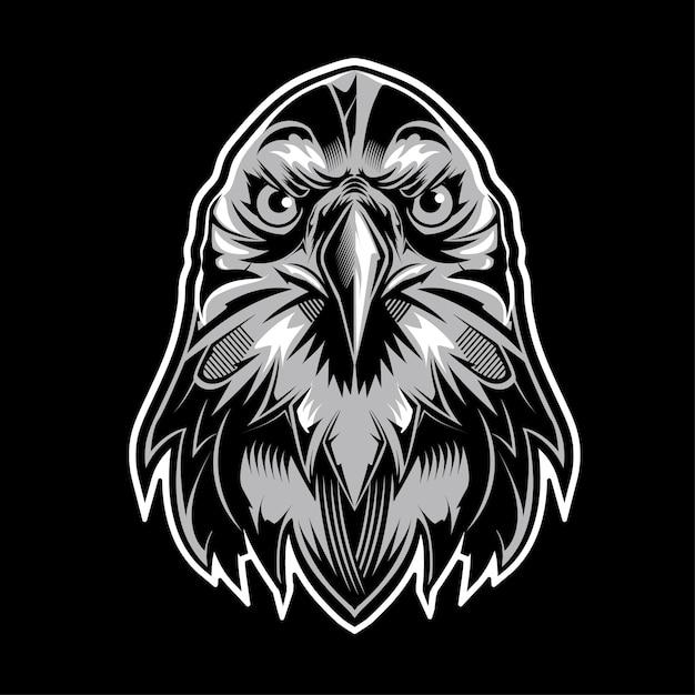 Eagle head logo on black background Premium Vector