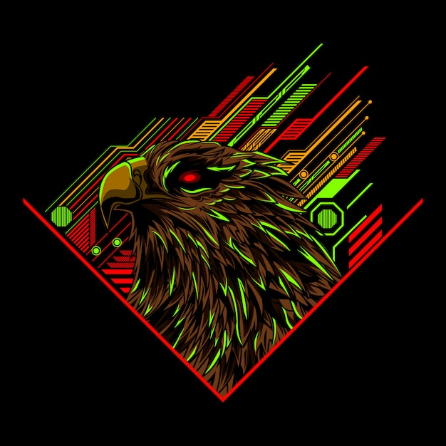 Eagle head vector illustration art Premium Vector